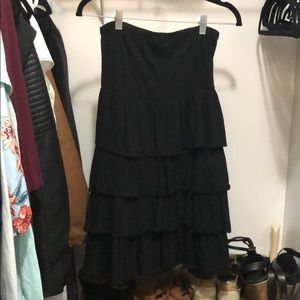 Black Strapless Ruffled Dress Size Medium